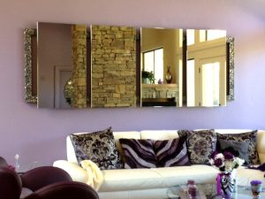 Contemporary four piece floating mirror