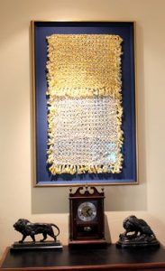 picture of framed hand woven sham heirloom