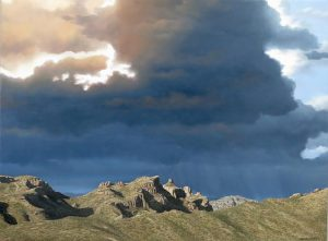 Oil landscape of rain over mountains by artist Rob Macintosh
