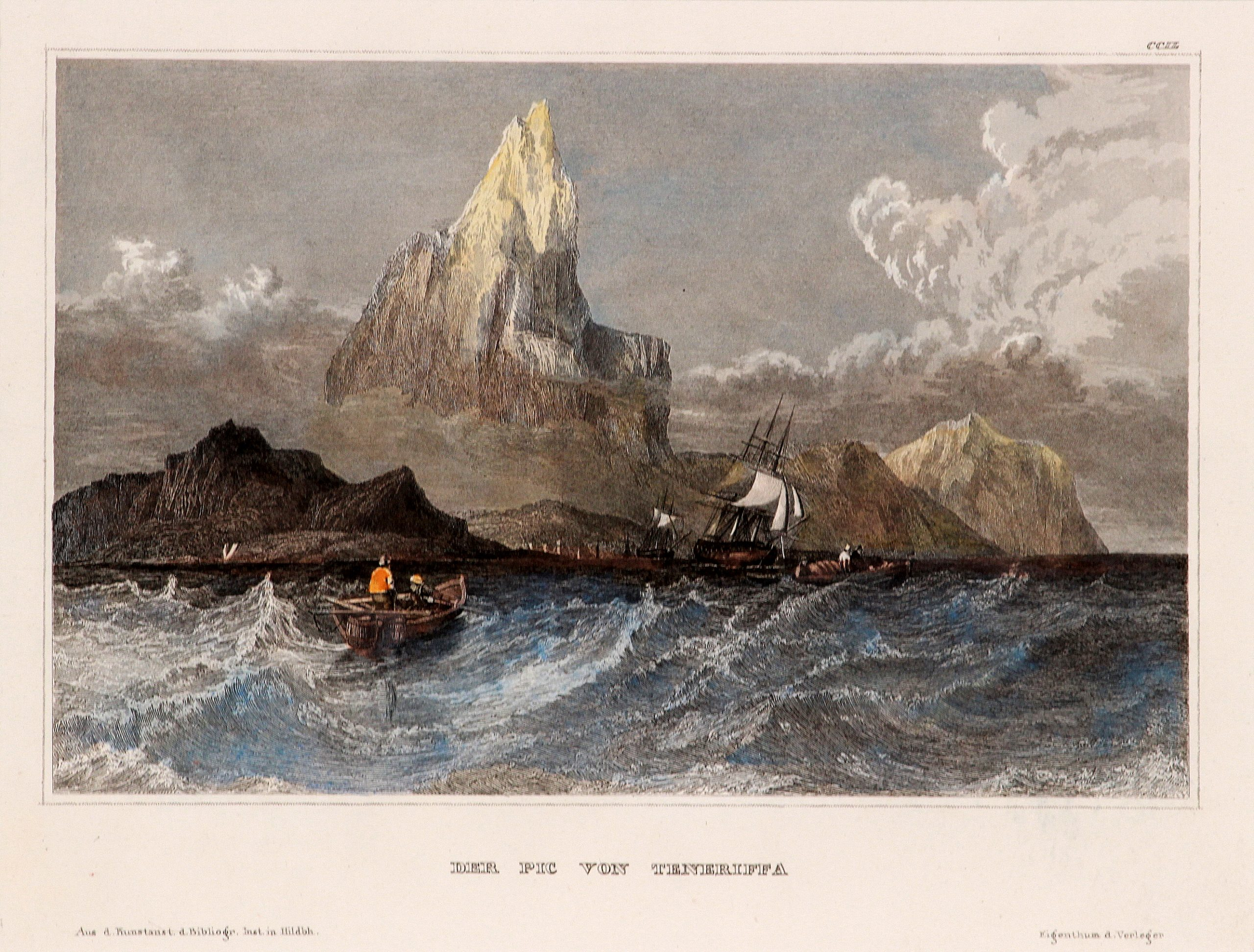 Antique etching seascape with boats and mountains
