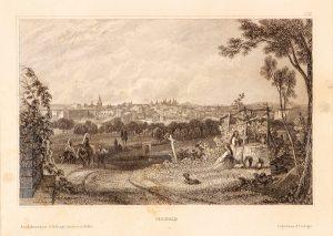 Antique etching pastoral scene