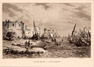 Antique etching of the island of Malta