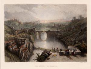 Antique etching of Toledo bridge