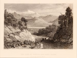 Antique etching of Geneva lake