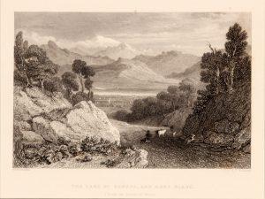 Antique etching of Geneva lake