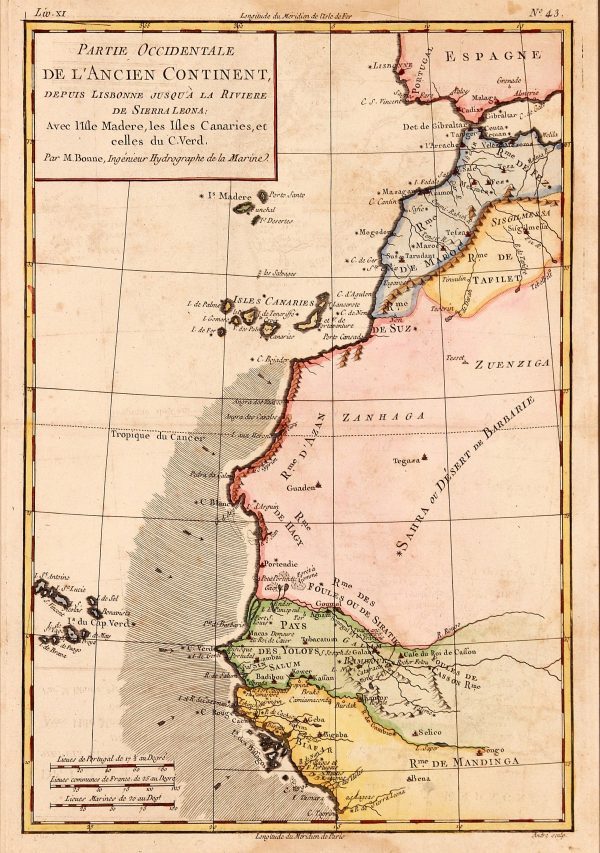 Antique map of North West African coast