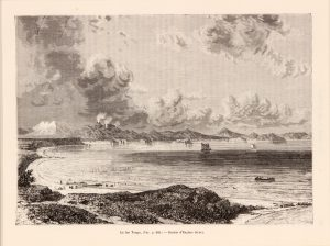 Antique etching of coastal scene with boats
