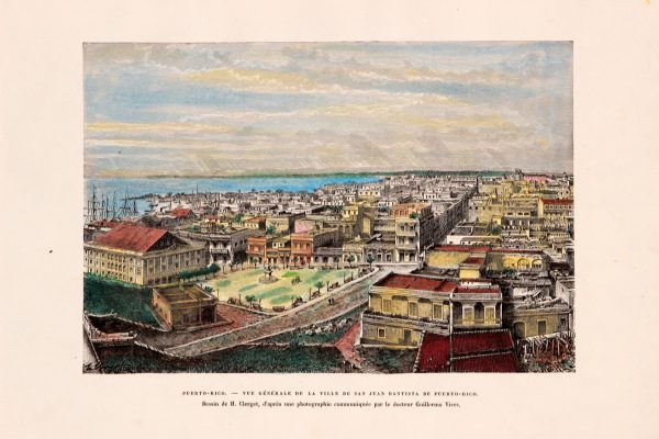 Antique etching of Puerto Rico city