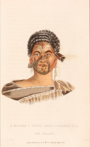 Antique etching of New Zealand chieftain